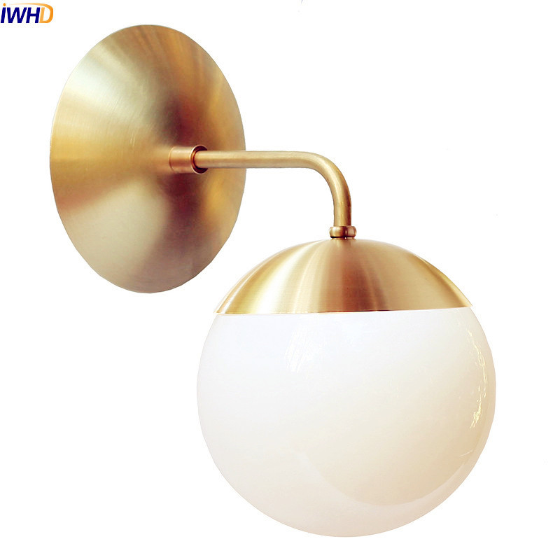 IWHD Nordic Modern LED Wall Lamp Dinning Bathroom Mirror Light Brass Copper Glass Ball Wall Lights Fixtures Wandlamp Luminaire copper bathroom shelf basket soap dish copper storage holder silver