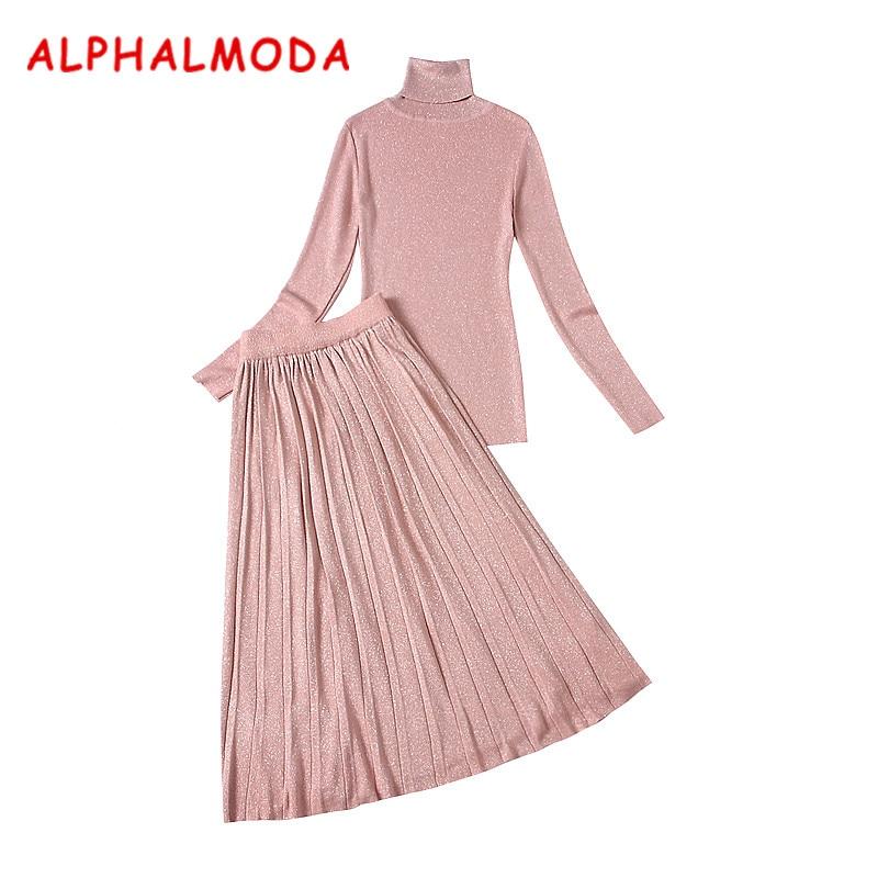 Almoda новинки для женщин дно Вязание футболки и юбки 2 шт. Костюмы Зимняя водолазка плиссированная юбка миди тонкий вязаный элегантный костюм