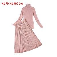 Almoda Women New Bottom Knitting Tshirts And Skirts 2pcs Suits Winter Turtleneck Pleated Midi Skirt Thin