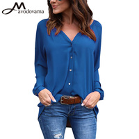 Avodovama M Summer Women Elegant Chiffon Blouse Female Long Sleeve Solid V Neck Solid Button Loose