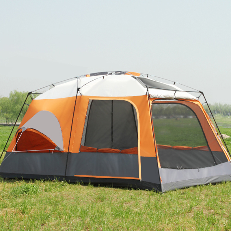 Neue 8-12 Person Doppel Schicht Einer Halle Zwei Schlafzimmer Wasserdicht Super Starke Camping Zelt Große Pavillon Große Zelt