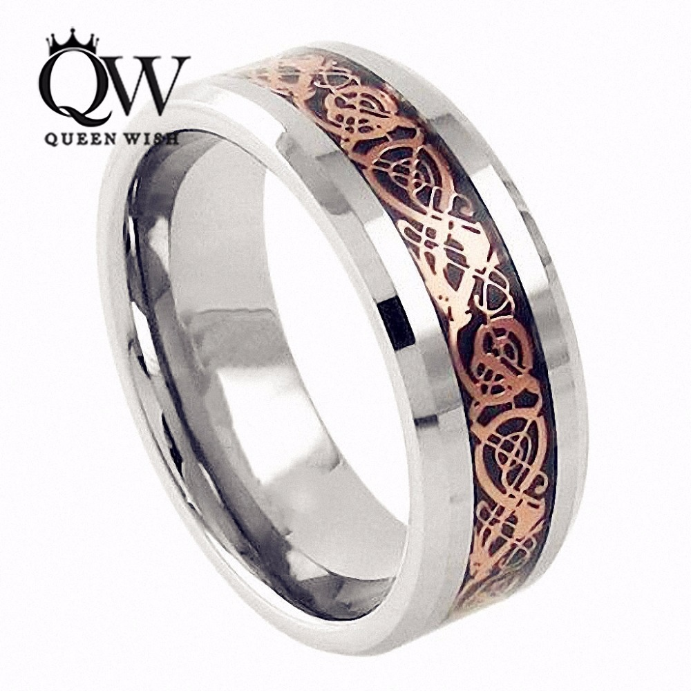 Queenwish 6mm Tungsten Carbide Wedding Bands Ring Rose Gold Celtic Dragon  Men Women Silver Jewelry(