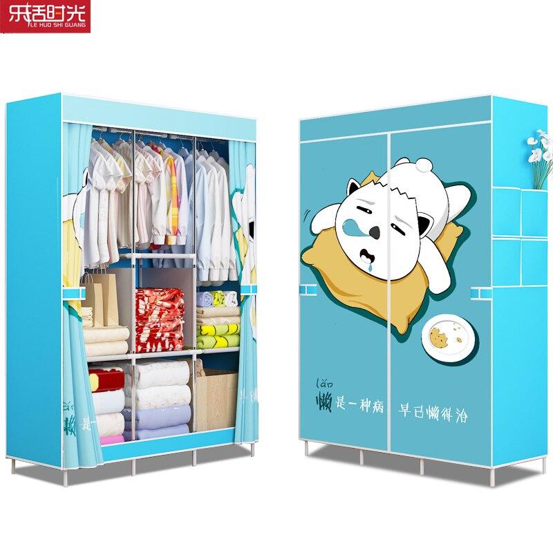 Double Row 10 Grid Simple Bookshelf Nonwoven Fabric Home Sundries Storage Cabinet Bookcase Kids Book Shelf