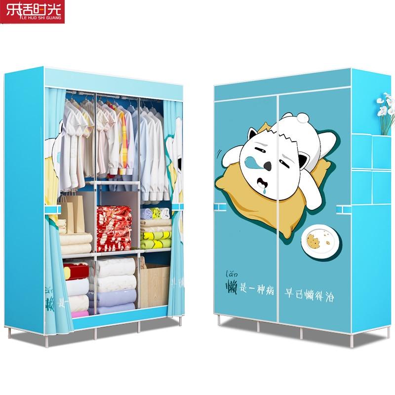 Simple Non tissé armoire en acier tuyau cadre renfort debout rangement organisateur détachable vêtements placard chambre meubles