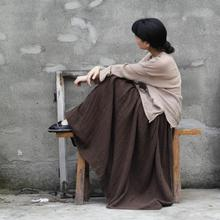 Johnature 2018 Women New Original Designs Cotton Floor Length Autumn Pleated Solid Button Casual Art Van Super Long Skirts