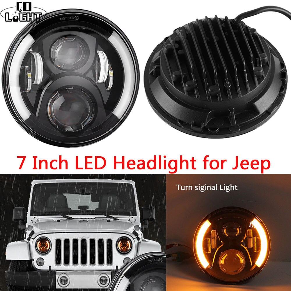 Круглых со светом 50 Вт/30 Вт 7 светодиодные фары для Jeep Вранглер JK, Сид управляя свет для Ленд Ровер Дефендер Н4 Н13 ДХО фары