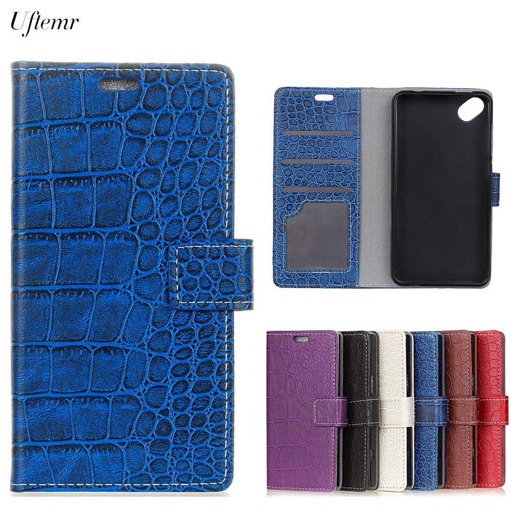 Uftemr Vintage Crocodile PU Leather Cover For Wiko Sunny Sunset 2 Protective Silicone Case Wallet Card Slot Phone Acessories