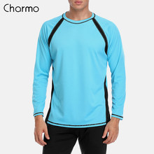 Charmo Men Long Sleeve Rashguard Dry-Fit Shirts Men Diving Surf Shirt UV-Protection Rash Guards Top UPF 50+ Patchwork Beach Wear(China)