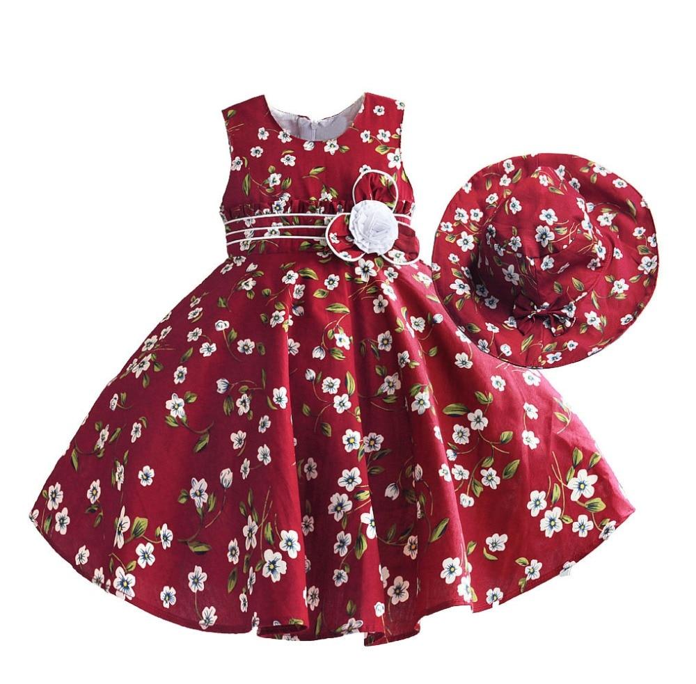 Hetiso Girls Dress Red Flower Print Kids Party Princess Wedding Dresses Bow Tie Kids Sundress vestido nina Size 3-8T sunny fashion girls dress bow tie sleeveless novelty paisley style print size 3 8 girl dresses princess dress vestidos sundress
