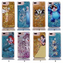New cartoon cases for iphone 7 7plus 5 5s 6 6s plus mickey Frozen Stitch Simpsons Princess Mermaid Liquid Quicksand phone shell