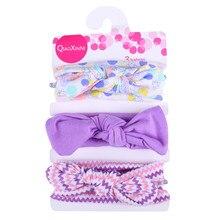 MUQGEW, Детская повязка на голову с бантом для девочек, детская резинка для волос, 3 предмета, Детская повязка на голову с цветочным рисунком для девочек, детские Эластичные аксессуары с бантом, набор для волос