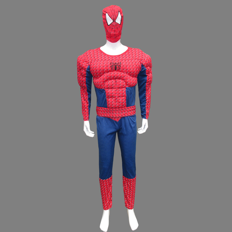 free shipping 2016 with mask Halloween Spider Man Costume muscle adult clothes muscle spider man clothing adult cosplay costume