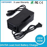 24V 5A Lead Acid Battery Charger For Electric Bike Scooters With CE FCC ROHS SAA