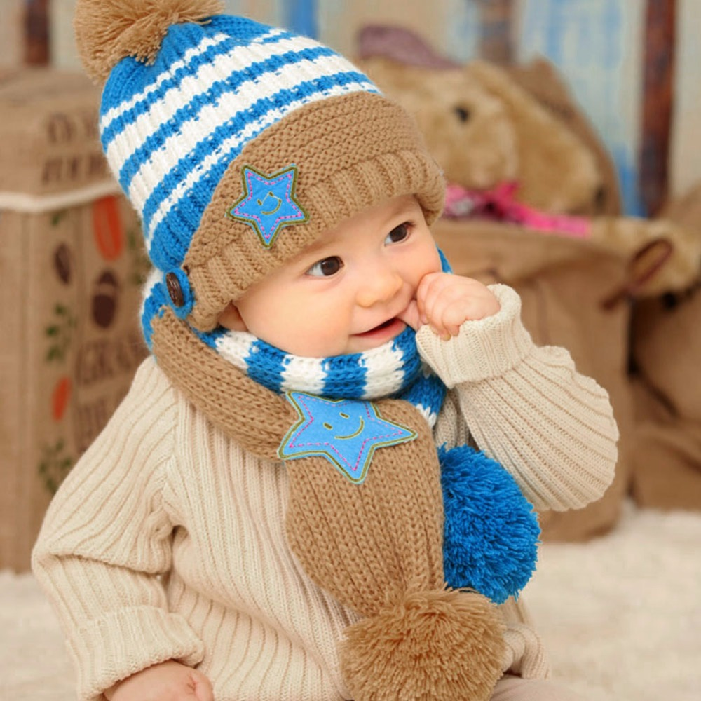 Lovely New Winter Kids Hat Smile Star Print Children Skullies Beanies Scarf Hat Set for Baby Boys Girls Baby Knitted Hats Caps real mink pom poms wool rabbit fur knitted hat skullies winter cap for women girls hats feminino beanies brand hats bones