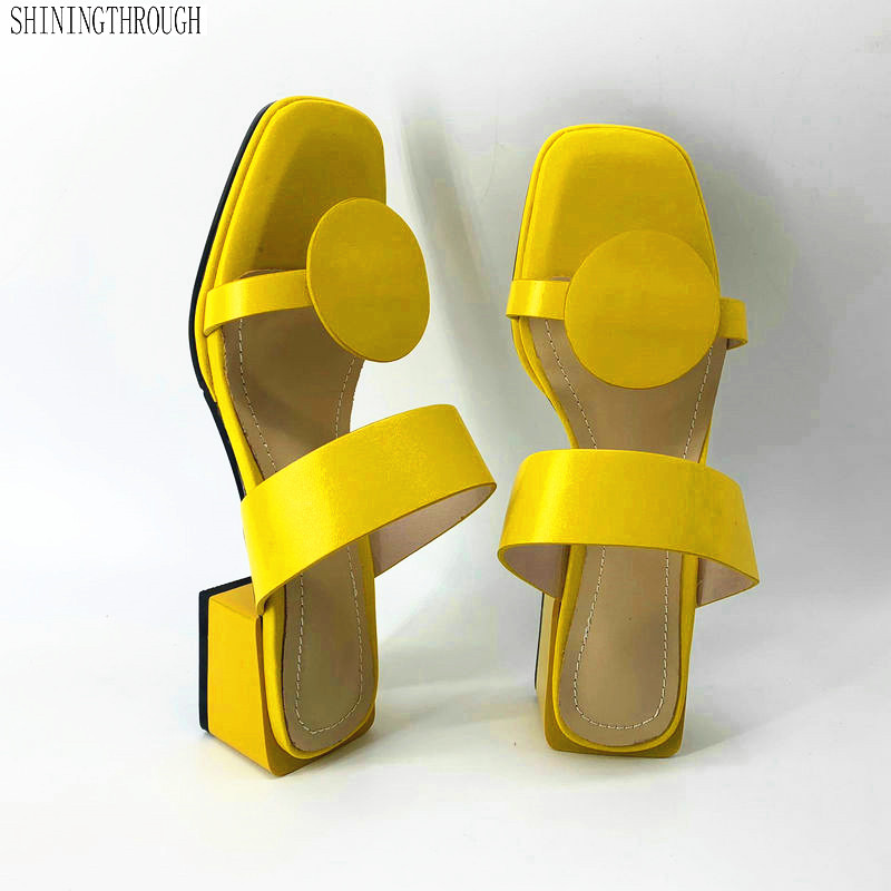 New women slippers pu leather 4.2cm square heels slipper open toe women sandals pink blue yellow ladies casual shoes woman 32-48New women slippers pu leather 4.2cm square heels slipper open toe women sandals pink blue yellow ladies casual shoes woman 32-48