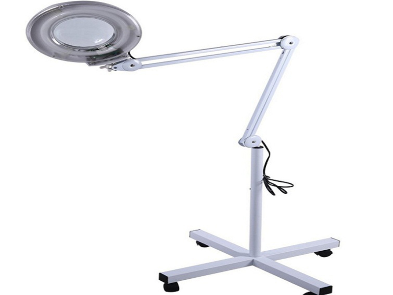 220V LED Light 5X Floor Stand Optical Magnifying Glass Lens Foldable Magnifier Lamp For Facial Tattoo Eyebrow Nail Salon Beauty