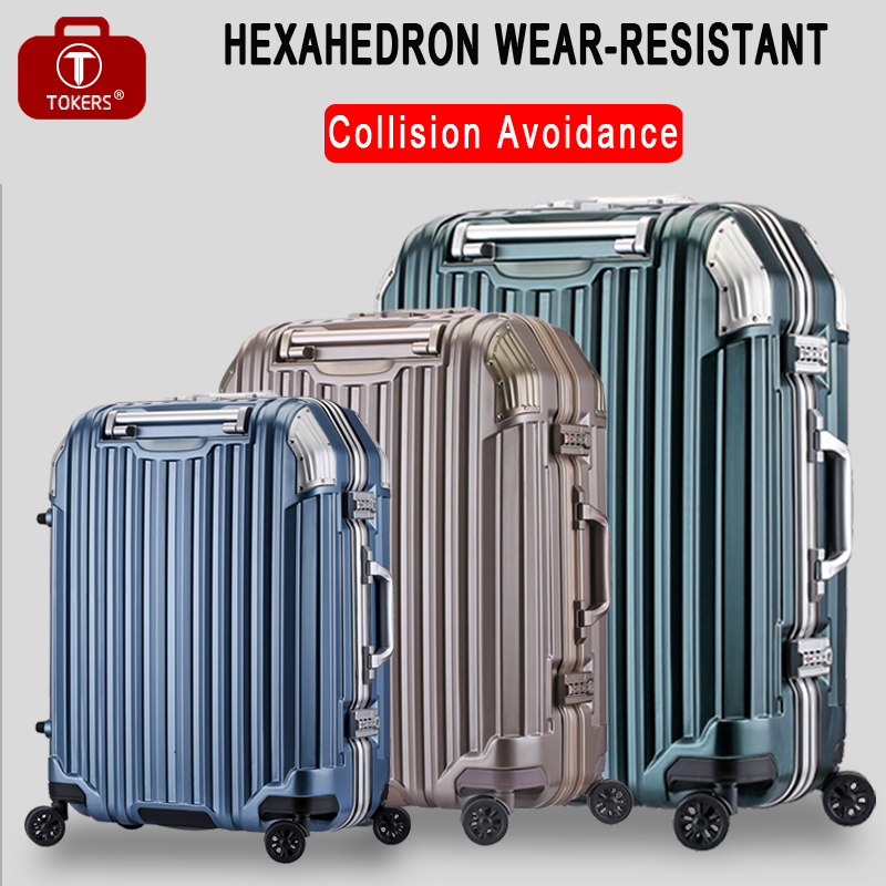 Tokers Suitcase on wheels Rolling travel Carry on Luggage hand  Trolley bag Case 20inch 24inch 28inch vintage suitcase 20 26 pu leather travel suitcase scratch resistant rolling luggage bags suitcase with tsa lock