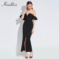 Kinikiss Women Bodycon Dress 2017 Summer Dress Black Strpless Backless Long Party Dress Spring Sheath Ruffle