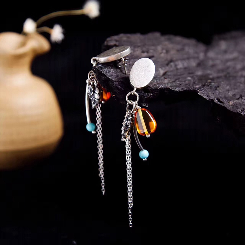 LouLeur 925 sterling silver natural Amber earrings handmade DIY design tassel amber 925 silver jewelry earrings for women charms amber earrings for women blood po earrings sterling silver egg shaped amber factory price authentic fidelity page 1