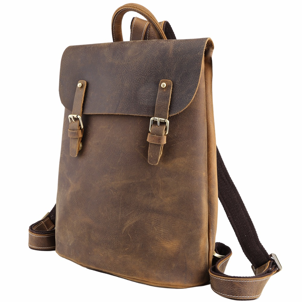 TIDING Cool Flap Backpack Leather Day pack Teenage Vintage Style School Backpack 31353 tiding cool cowhide leather laptop backpack day pack activity travel weekender overnight bag 30813
