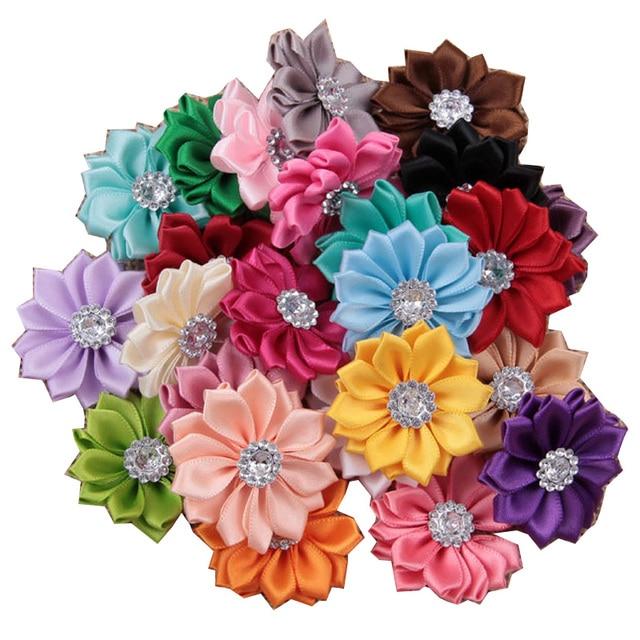100pcs/lot 3.5CMDIY Multilayers Felt Satin Ribbon Flower Boutique ...