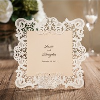 wholesale 50 pcs/lot wishmade latest hollow wedding greeting invitation card with laser cut and RSVP card CW6079