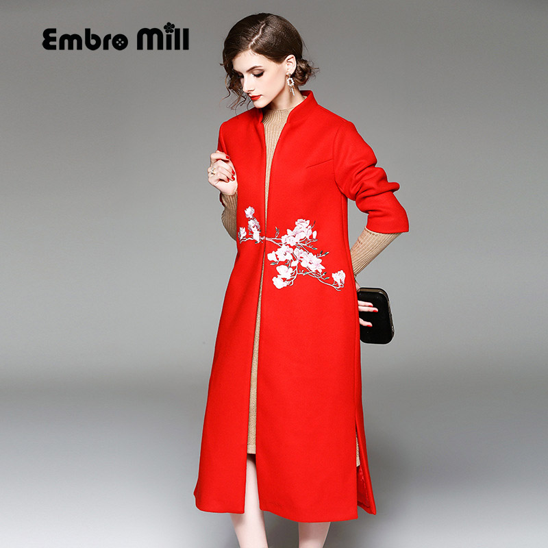 Здесь продается  High-end winter trench coats for women Elegant Floral wool embroidery midi Windbreaker lady Christmas overcoat female S-XXL  Одежда и аксессуары