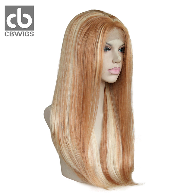 White Blonde Highlight Color Heat Resistant Kanekalon Hair Women s Wig  Glueless Long Silky Straight Synthetic Lace Front Wig 49c8b0e323