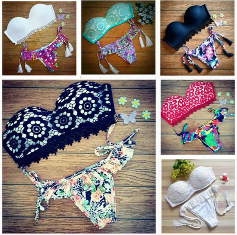 2016 Women Neon Color Triangle Swimwear Padded Swimsuit Cut Out Strappy Biquini Halter Bikinis Set Top Bottom fashionable strappy printed cut out one piece swimsuit for women