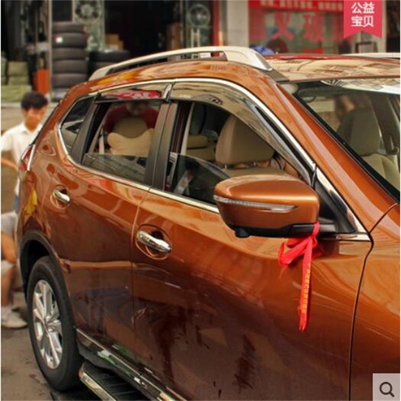 For Nissan X-Trail XTrail 2008-2013/2014-2016 Window Visor Vent Shades Sun Rain Deflector Guard Awnings Car-Styling Accessories цена 2017