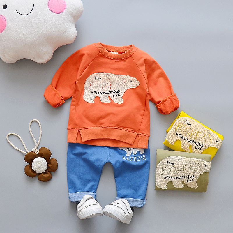 Nnilly 2018 Spring Favourite Boy Girls Childrens Clothing For Girls Clothes For Boys 2pcs/set T-shirt+Pants Bear Cartoon Print