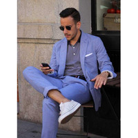 Casual Mens Suits Blue Linen Suits Notched Lapel Beach Wedding Suits For Men Slim Fit Grooms Tuxedos Two Piece (Jacket+Pants)N79