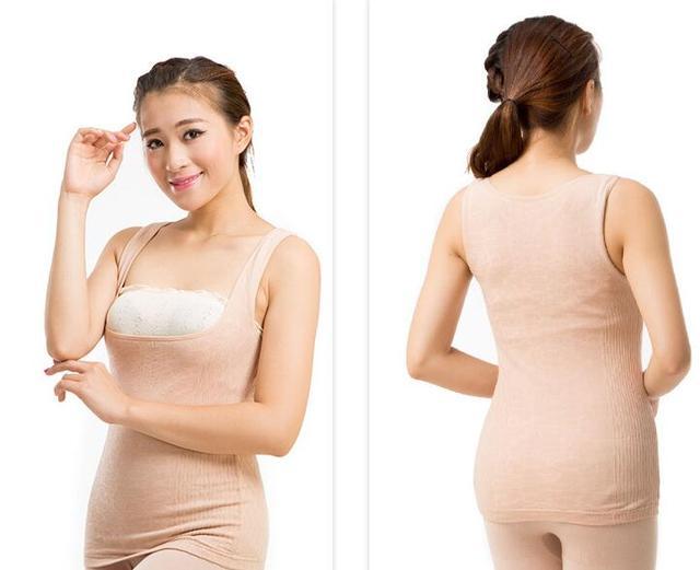 Mulheres colete térmico Superelastic perfeita moldar o corpo roupa interior térmica grande U-pescoço colete térmico cuidados com o peito e abdômen