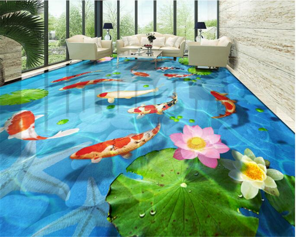 beibehang cobbled lotus leaf lotus carp carpets 3d flooring tiles papel de parede wallpaper for walls 3d photo wall papier peint modern luxury wallpaper 3d wall mural papel de parede floral photo wall paper ceiling murals photo wallpaper papier peint behang