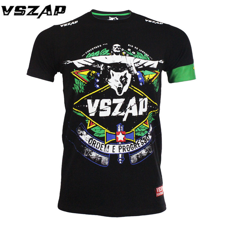 VSZAP Boxing Shirts Skin Cotton Thermal Under Short Sleeve Jerseys Rashguard MMA Crossfit Exercise Workout Fitness Sportswear