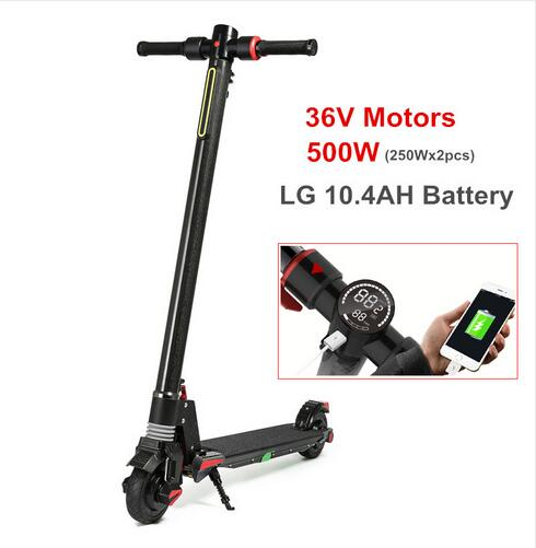 2018 New Dual Motor Folding Carbon Fiber S5 Electric Skateboard 500W Fortable Kick Scooter E-Scooter for Adults with LG battery 2 wheels kick scooter 350w lithium battery electric scooter with seat max load 150kg for adults free shipping