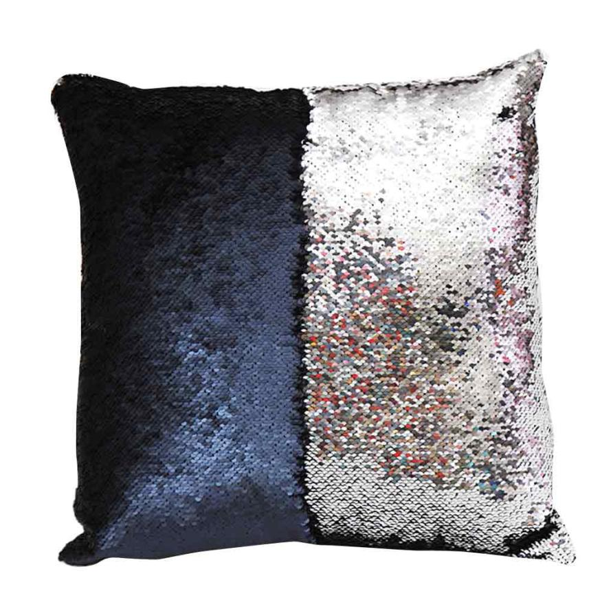 Beautiful Special Gentler High-quality DIY Two Tone Glitter Sequins Throw Decorative Cushion Sofa Car Decorative Relleno Cojin