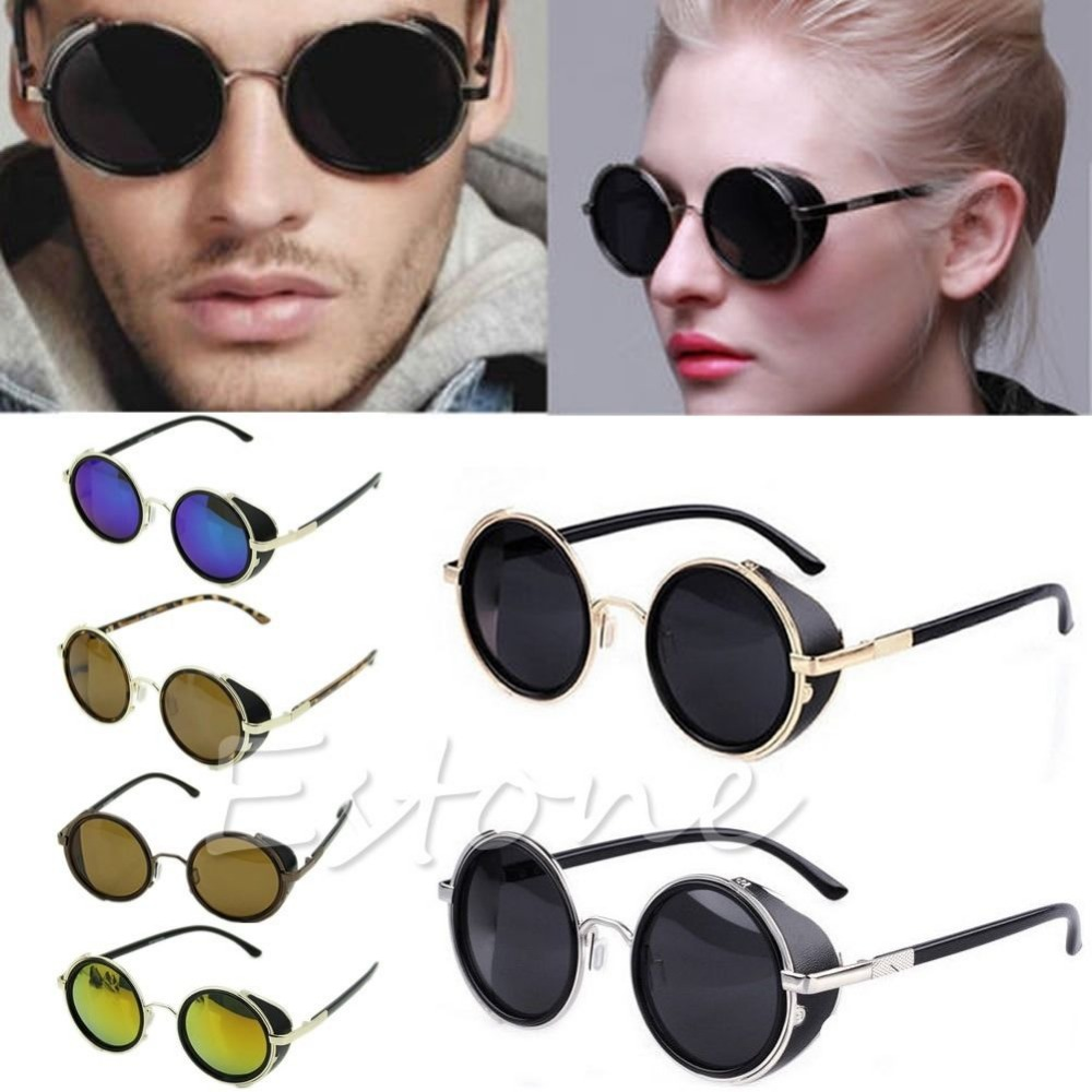 d027b5da83a Cyber Goggles Vintage Retro Blinder Steampunk Sunglasses 50s Round Glasses