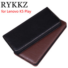 RYKKZ Luxury Leather Flip Cover For Lenovo K5 Play Mobile Stand Case Phone