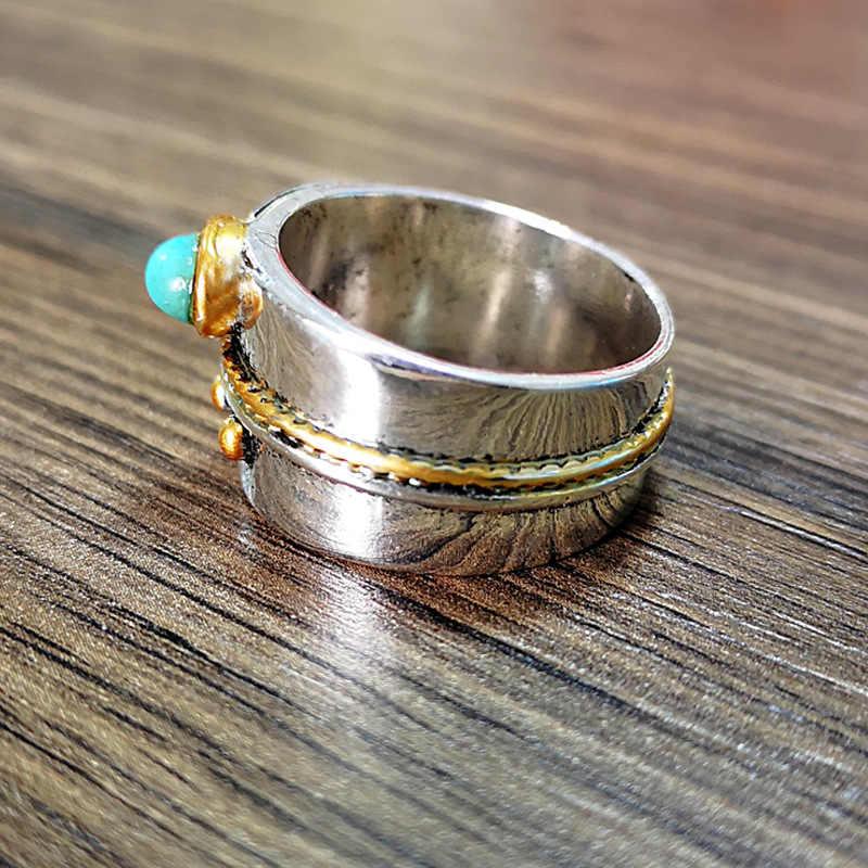 Anillos de dedo de nudillos de Color plata Vintage Bohemia pequeña piedra azul gema oro cuerda anillo de adorno para mujeres joyería de fiesta L4M126