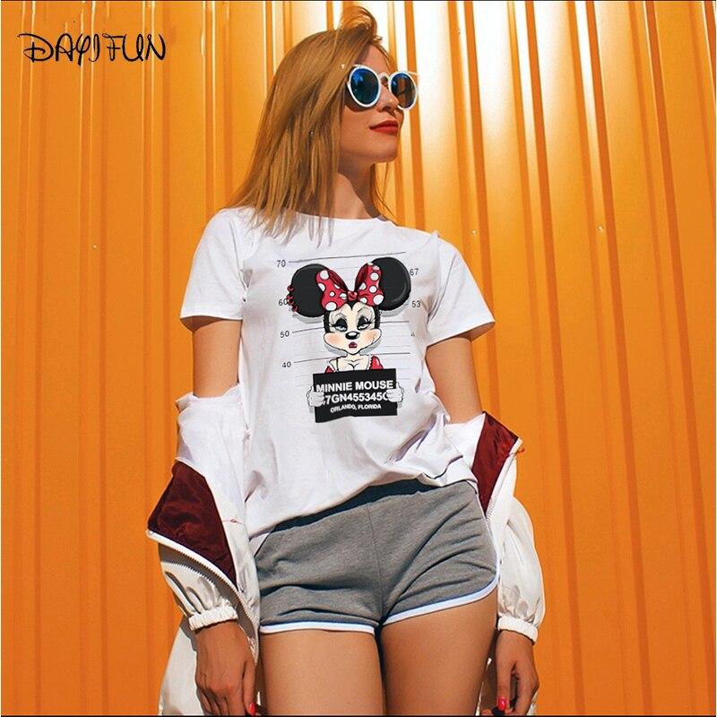 DAYIFUN men Mickey print tees Goofy t shirt women tops hip hop casual funny dog mouse