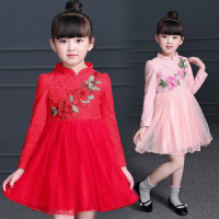 Girls dress 2018 autumn and winter new children's clothing Chinese style children's cheongsam long sleeved dress