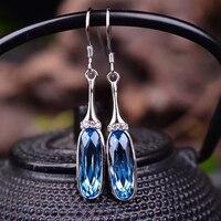 Aladdin Shiny Blue Topaz Drop Earrings Jewelry 925 Sterling Silver Ear Wire Chain Long Earrings For