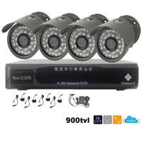 4CH CCTV Kit 1 4 CMOS 900TVL CCTV Camera Outdoor Waterproof With IRCUT Filter Color Image