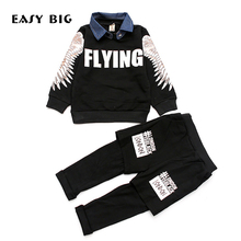 EASY BIG 2017 Spring Autumn Boys Children's Sets Cottons Pants+T-shirts For Boys Kids Top Clothes Sets CC0136