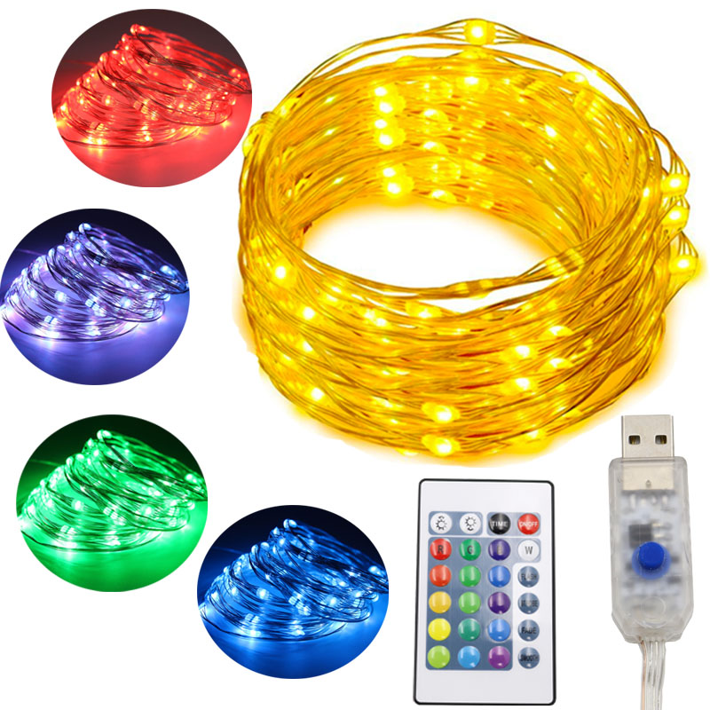 16 colors Changeable USB Fairy Lights 5m 10m Christmas LED Lights Decoration Remote Control Wedding Room Decoration String Light