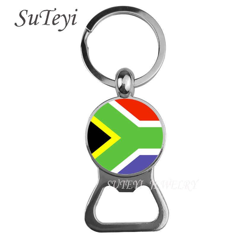 אופנה את אפריקאי לאומי דגל בירה בקבוק פותחן מפתח שרשרת טבעת דרום אפריקה/ניז 'ר/ניגריה דגל גברים keychain תליון