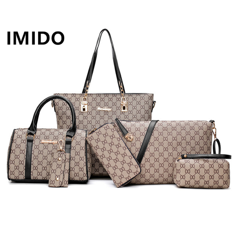 IMIDO 2019 Summer Explosion Models Casual Fashion Simple Slung Six-piece Large Bag Multi-purpose Shoulder Portable HandbagIMIDO 2019 Summer Explosion Models Casual Fashion Simple Slung Six-piece Large Bag Multi-purpose Shoulder Portable Handbag