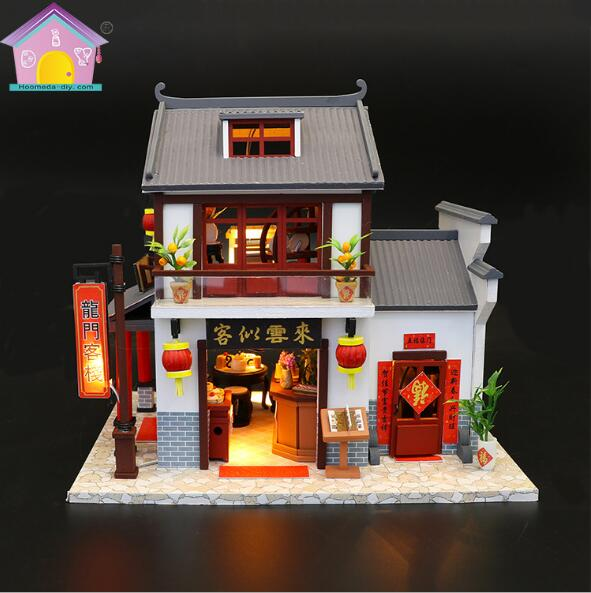 M901 Chinese style building Miniature Diy Doll House Wooden Handmade Dollhouses Furniture Kit Handmade Toys gifts plancha termica para gorras