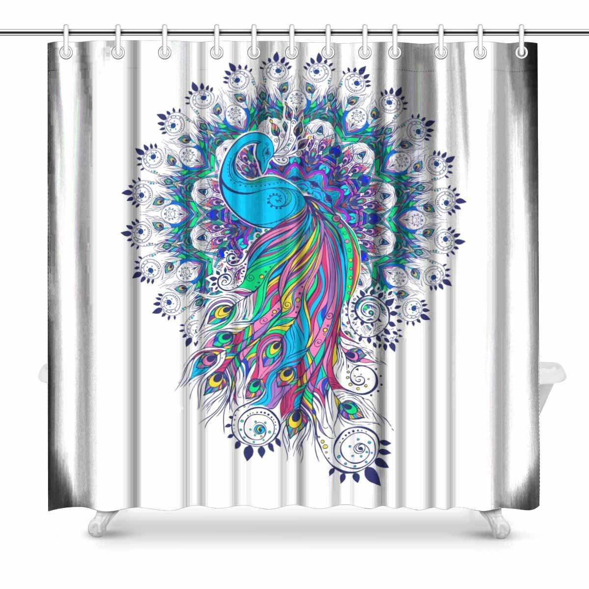 Us 17 24 31 Off Colourful Peacocks Print Polyester Fabric Shower Curtain 72 X 72 Inches Extra Long In Shower Curtains From Home Garden On